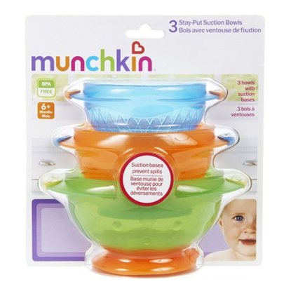 Munchkin 3 Stay-Put Suction Bowels 6+ Months