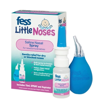 Fess Little Noses Saline Nasal Spray for Newborns Babies 15ml Aspirator