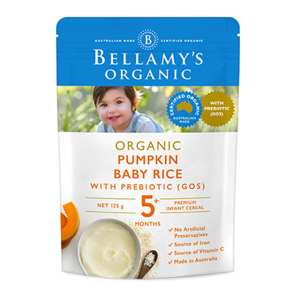 Bellamy's Organic Pumpkin Baby Rice with Prebiotics from 5 Month 125g