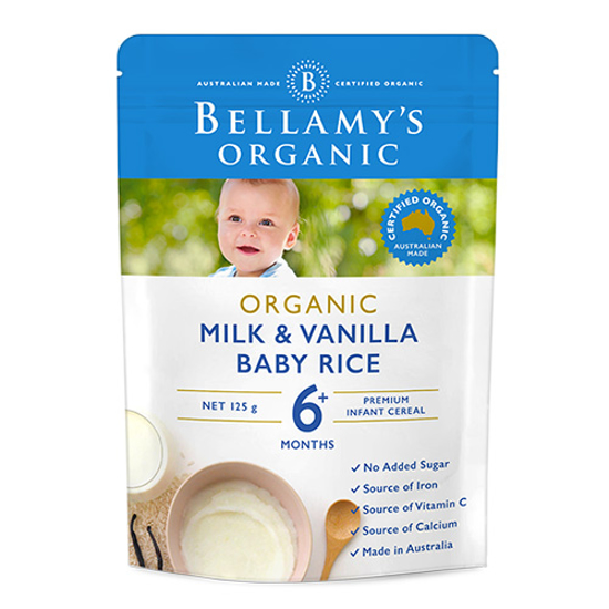 Bellamy's Organic Baby Rice Milk n Vanilla 6 month 125g