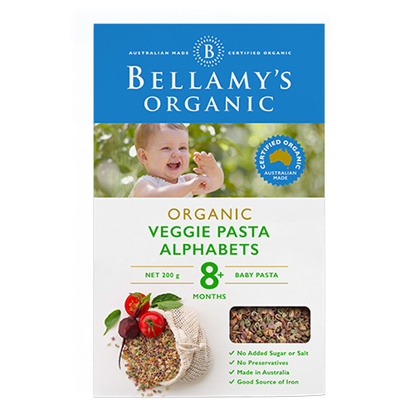 Bellamy's Organic Veggie Pasta Alphabets from 8 month 200g