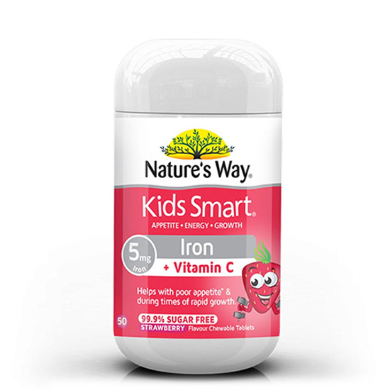 Nature's Way Kids Smart Iron + VC 99.9% S/F 50 chewable tabs
