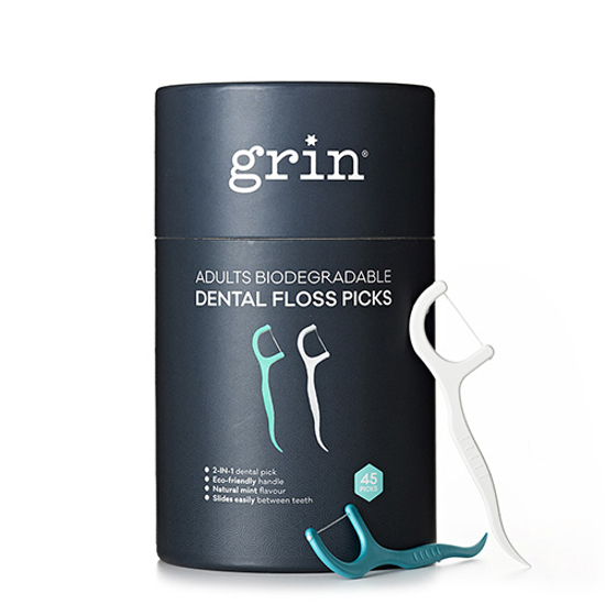 Grin Adults Biodegradable Dental Floss Pics 45 picks