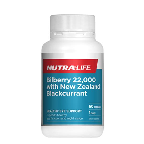 Nutralife Bilberry 22,000 Plus  NZ Blackcurrant Caps 60s
