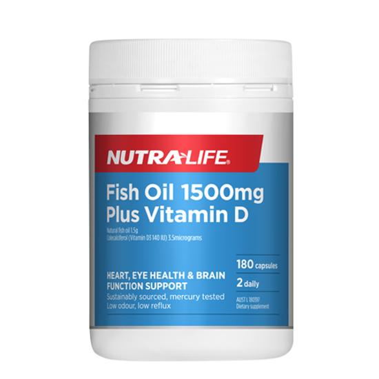 Nutralife Fish Oil 1500mg + Vit D 180 caps
