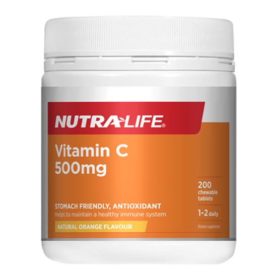 Nutralife Vitamin C 500mg 200 chewable tabs