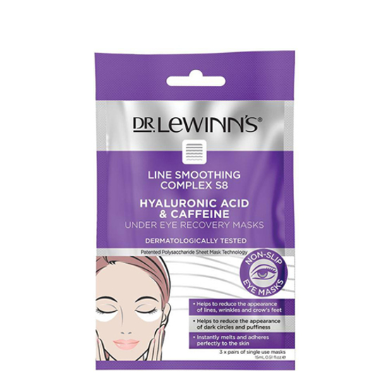Dr Lewinn's Line smoothing complex S8 Hualuronic acid & caffeine under eye recovery masks 3 pairs