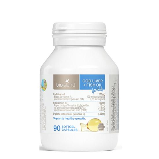 Bioisland Cod Liver+Fish Oil for kids 90 caps